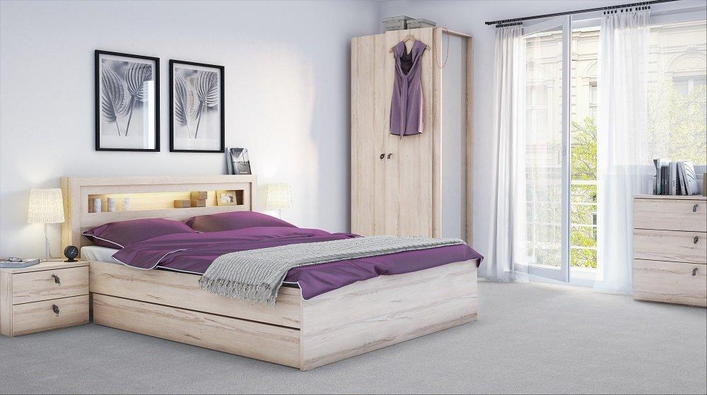 Schlafzimmer Set Torino 6-tlg. komplett Bett Schrank Nachttische Kommode Schublade jetzt bestellen