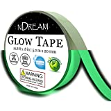 Glow in The Dark Luminous Tape 1 Roll 16.8 ft x .8 in, Bright Neon Green Glow Party Tape, Glow in Dark Sticker, Paper or Paint Alternative, Waterproof, Sticks to Shirts and Fabrics (Color: Glow Green)
