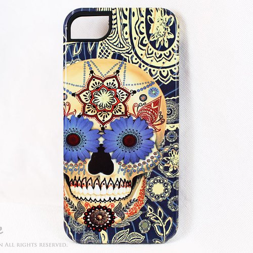 Special Sale Blue Sugar Skull Premium iPhone 5 5s TOUGH Case - Unusual iPhone 5 Case with Dia De Los Muertos Artwork