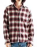チェック柄ネルシャツ チェックシャツ 長袖 オンブレ メンズ カジュアル Mサイズ 5レッド