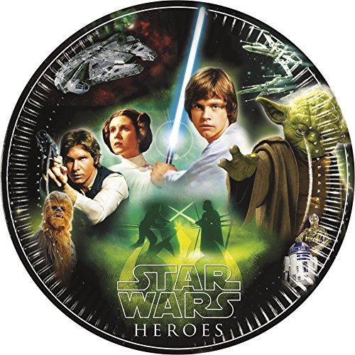 Procos 84283 - Piatti Carta Star Wars Heroes, Ø23 cm, 8 Pezzi, Nero/Verde