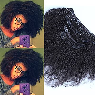 """Sunwell Top Quality 100% Brazilian Human Virgin Hair Afro Kinky Curly Clip in Hair Extensions Natural Black, 7 Pcs/Set, 14""""-22""""(110g/set)"""