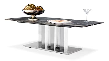 Nero Black and White Marble Coffee Table with Polished Stainless Steel Base