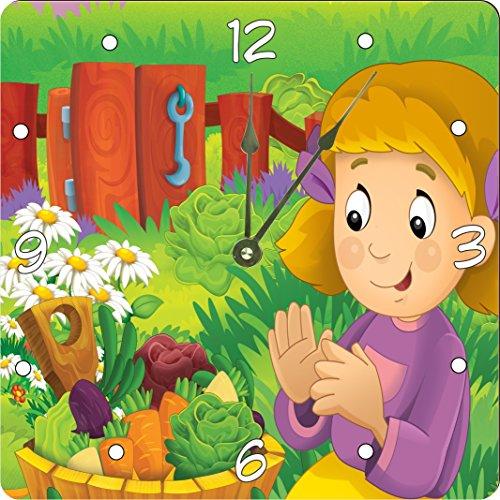 """Rikki Knighttm Cute Girl Cartoon With Farm Vegetables Design 6"""" Art Desk Clock front-643178"""