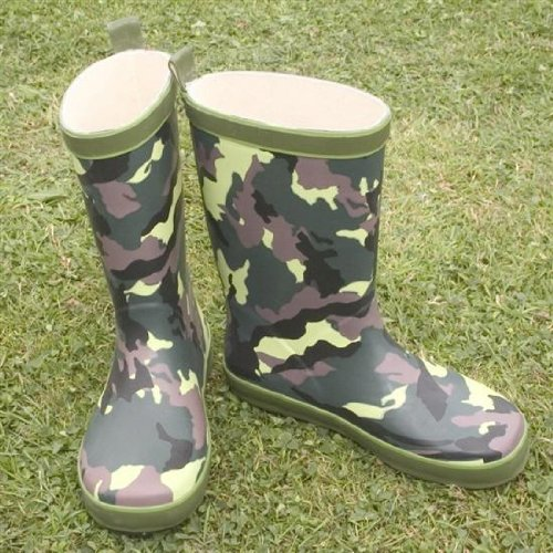 Kids Child Boys Girls CAMO OLIVE Funky wellies WC10