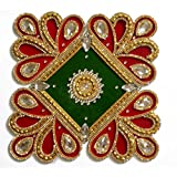 Korporate Kart 18/10 Steel Rangoli With Crystals - (0.5 LB, Red Green Gold, Pack Of 2)