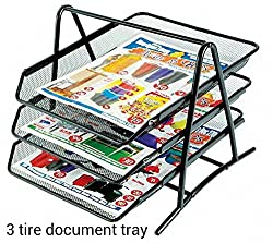 M&G 3 TIER MESH DOCUMENT / PAPER TRAY ORGANIZER, Black