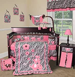 Custom Baby Girl Boutique - Pink Zebra 13 PCS Crib Bedding