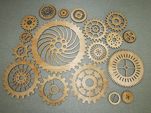 Gears Lot 2, 19 Various Size Wood Wooden Steampunk Wall Art Decor (Gear Wall Art compare prices)
