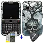 3 items Combo: ITUFFY (TM) LCD Screen Protector Film + Case Opener + Silver Blue Greyish Tree Skull Design Rubberized Snap on Hard Shell Cover Faceplate Skin Phone Case for Samsung S390G (Straight Talk / Net 10 / Tracfone)
