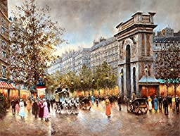 Le Beau Giclee by AFD Home 11158313 Parisian Street Scene Gallery Wrap, 36-Inch by 48-Inch