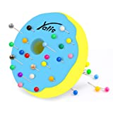 Yalis Desk Donut Push Pin Holder with 100-count Assorted Colors Map Pins (Color: Donut+100pins)