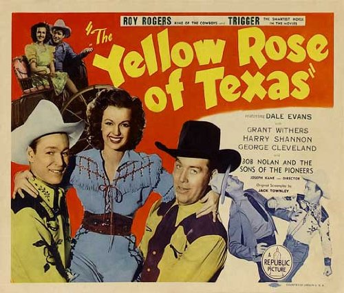 The Yellow Rose of Texas Vintage 1944 Movie Poster Starring Roy Rogers, Trigger, Dale Evans, with Grant Withers