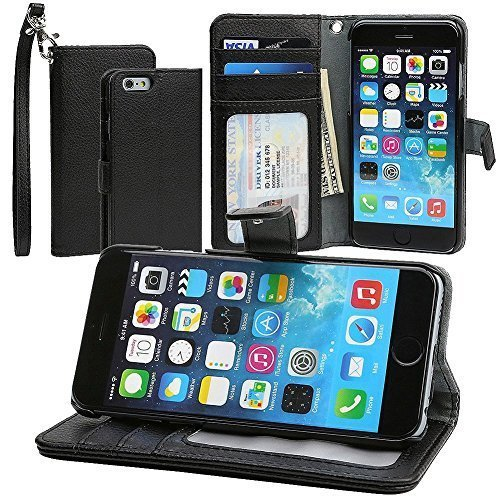 "Evecase iPhone 6 Plus Portafoglio custodia in PU pelle con supporto per Apple iPhone 6 Plus 5.5"" Smartphone - Nero"