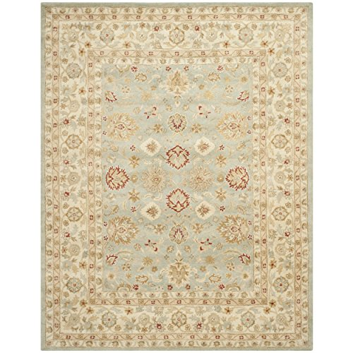 Safavieh Antiquity Collection AT822A Handmade Grey-Blue and Beige Wool Area Rug, 8 feet by 10 feet (8' x 10')