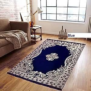 Buy Reliable Trends Velvet Touch Chenille Carpet For Living Room Dining Hall Mats Floor Blue