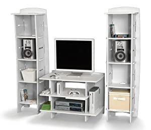 Basement and Playroom Standard Storage Unit for Bedroom Pink and White Legar/é Furniture Kids Gaming and TV Media Stand