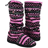 NCAA Ohio State Buckeyes Ladies Jacquard Knit Boots - Pink/Black (9/10) Amazon.com