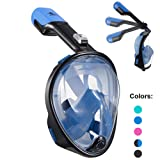 Full Face Snorkel Mask 180° Panoramic View Snorkeling Diving Mask Goggle Anti-Leak Anti-Fog Easy Breathing with Adjustable Head Straps for Adults Youth Kids (Foldable-Black+Blue, Small/Medium)