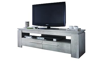 Meuble TV avec un étagère ouvert et 2 tiroirs, Coloris chène champagne, 140 x 47 x 42 cm -PEGANE-