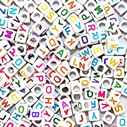 A Little Lemon 500pcs Mixed White Acrylic Plastic Beads With Colorful Letters/ Alphabet Letter \
