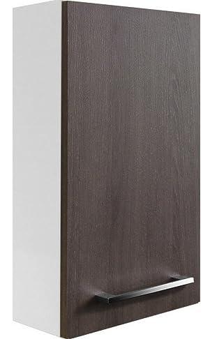 Fackelmann Rondo Hängeschrank, Sinistro, lucido bianco/rovere Cognac/bagno mobili