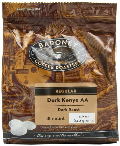 Baronet Coffee Dark Kenya Aa Dark Roast (140 G), 18-Count Coffee Pods