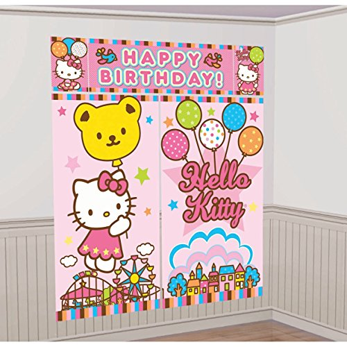 Sanrio Hello Kitty Scene Setter Wall Decorations Kit - Kids Birthday and Party Supplies Decoration