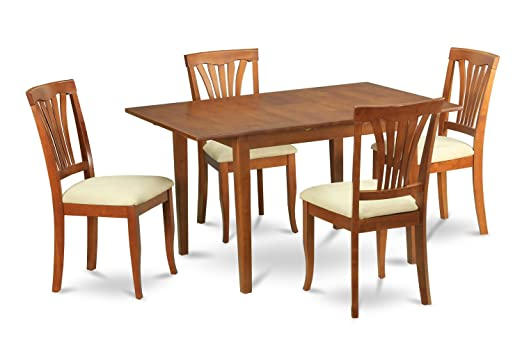 East West Furniture PSAV5-SBR-C 5-Piece Dinette Table Set
