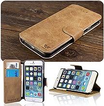 """SAVFY® Etui luxe iPhone 6/6S 4.7"""" Ultra Slim Portefeuille PU Cuir avec stand + FILM D'ECRAN + STYLET OFFERTS! - Housse coque de protection pour Apple iPhone 6/6S 4.7 pouces 16/64/128 Go (Wifi/3G/4G/LTE) - Prix découverte accessoires pochette SAVFY : Exceptional case ! - Brun Clair"""