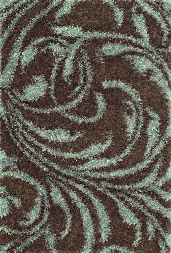 Modern Shag Contemporary Big Area Rug Soft Carpet Coffee 9X12-9X13 Green Scroll Exact Size:9' X 13' front-281059