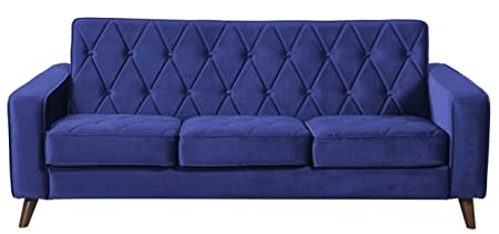 TOV Furniture Bowery Petite Velvet Sofa, Navy