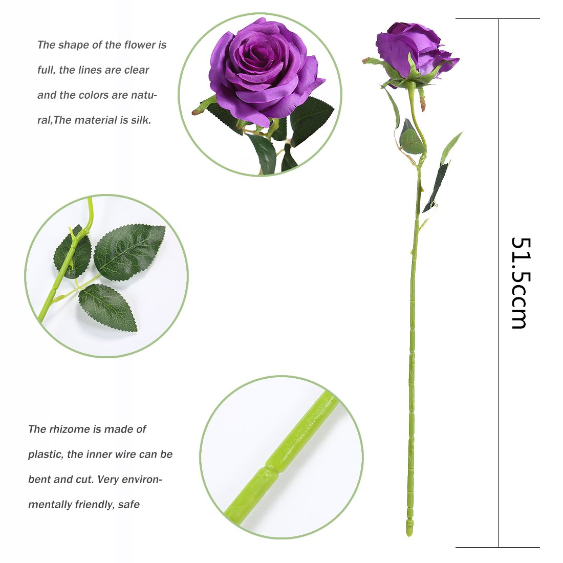 Artificial Flowers Silk Roses Real Touch Bridal Wedding Bouquet for Home Garden Party Floral Decor 10 Pcs (Purple curved stem)