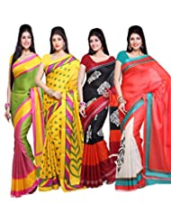 AISHA Printed Fashion Art Silk Multicolor Sari (Pack Of 4) - B00TYAIWYI