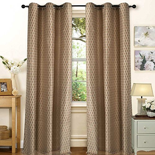 Deco Essential Curtain Tonal Stripe Dark Brown Beige 7.5 ft