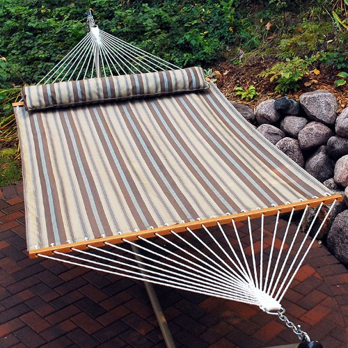 82″ x 55″ Tan and Gray Earth Tone Striped Quick Dry Double Hammock with Pillow