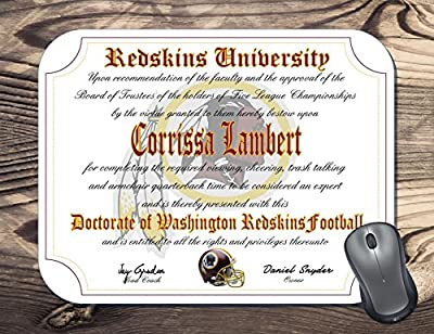Washington Redskins Ultimate Football Fan Personalized Diploma Mouse Pad - Perfect Gift