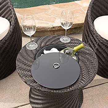 Belen Outdoor Brown Wicker Accent Table with Ice Bucket