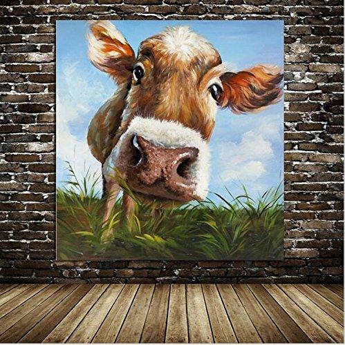 Iplst moderne cartoon niedlichen tier kuh gras essen - Kuh bilder auf leinwand ...