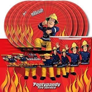 kit de d coration de table sam le pompier pour 16 personnes jeux et jouets. Black Bedroom Furniture Sets. Home Design Ideas