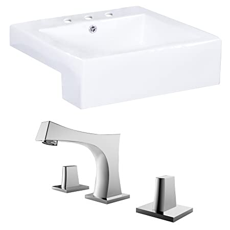 "Jade Bath JB-15243 20"" W x 20"" D Rectangle Vessel Set with 8"" o.c. CUPC Faucet, White"