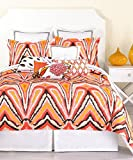 Trina Turk Peacock Punch Double Full Queen Duvet Cover Set 100% Cotton Large Ikat Orange Coral Brown