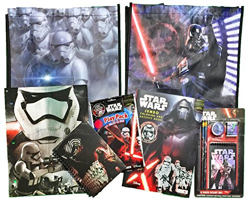 [11 item LIMITED Disney Star Wars Recyclable Tote Bag Bundle Exclusive [(EMPIRE; IMPERIAL NAVY) folder, notebook, play pack, coloring book, study set (2 pencils, eraser, sharpener and] (Star Wars The Force Unleashed 2 Darth Vader Costume Cheat Xbox)