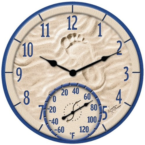 """TAYLOR 91501 14"""" By the Sea Poly Resin Clock with Thermometer"""