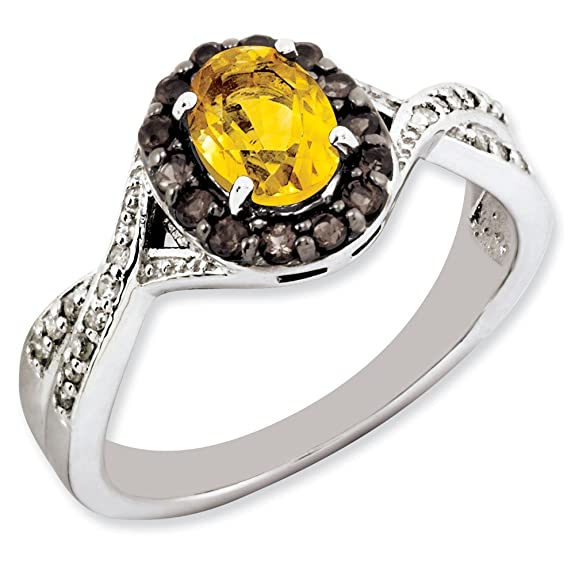 Sterling Silver Citrine and Smokey Quartz & Diamond Ring