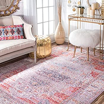 """Vintage Antique Brick Medallion Blush Area Rugs, 5 Feet 3 Inches by 7 Feet 7 Inches (5' 3"""" x 7' 7"""")"""