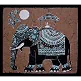 Unique Batik Wall Hanging - Elephant (Hand made Batik Art) Grey Backgroundby Nethara