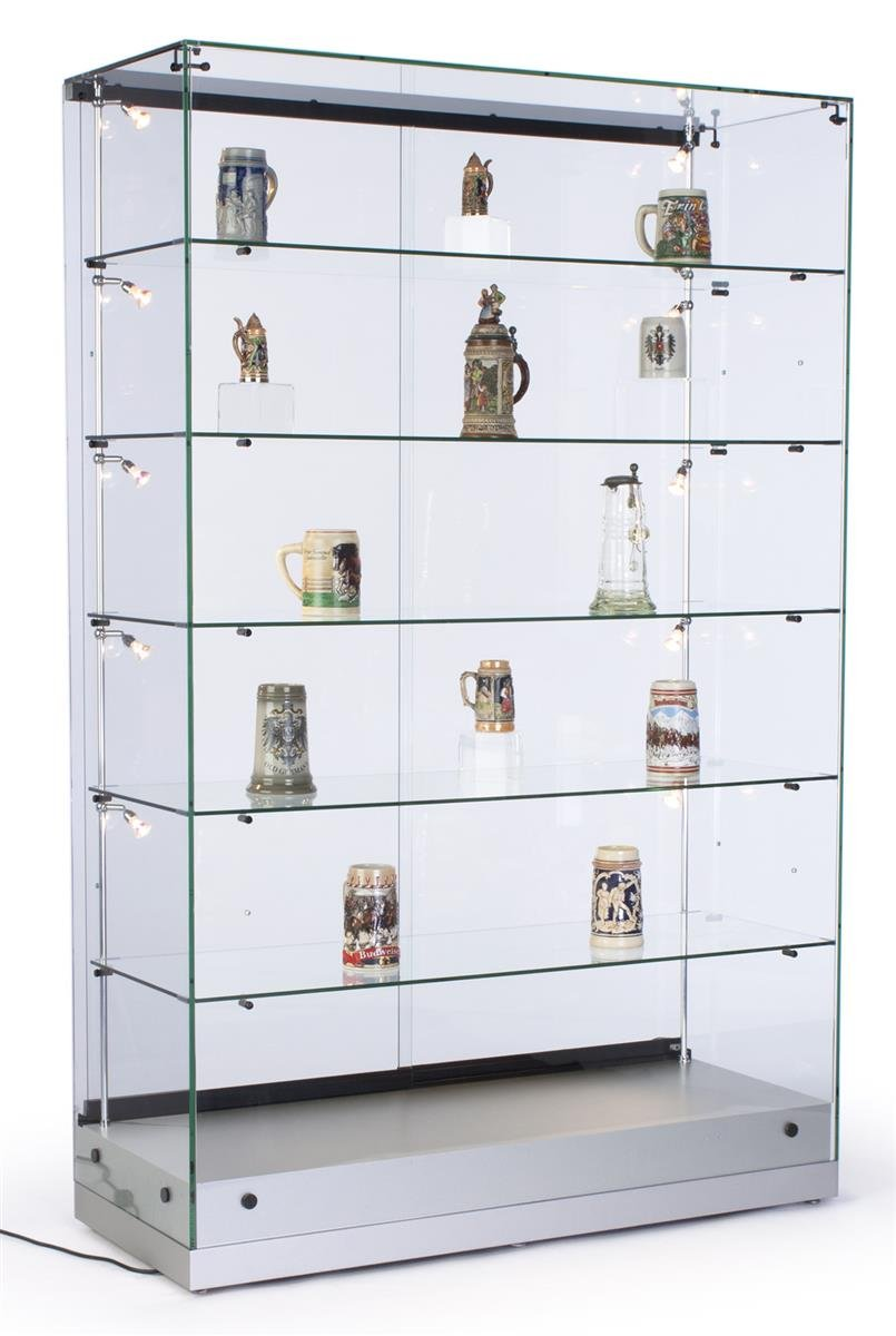 """48""""w Glass Display Cabinet with 5 Height-Adjustable Glass Shelves and 10 Side Lights, Curio Cabinet with Lockable Sliding Door - Silver, MDF Base"""