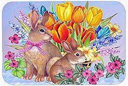 Caroline\'s Treasures PJC1067CMT New Beginnings II Easter Rabbit Kitchen or Bath Mat, 20 by 30\