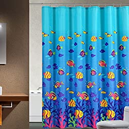 Tiggo- Super Waterproof Deep Sea Tropical Fish Polyester Fabric Shower Curtain with Rings (200cm(W) x 180cm(H))
